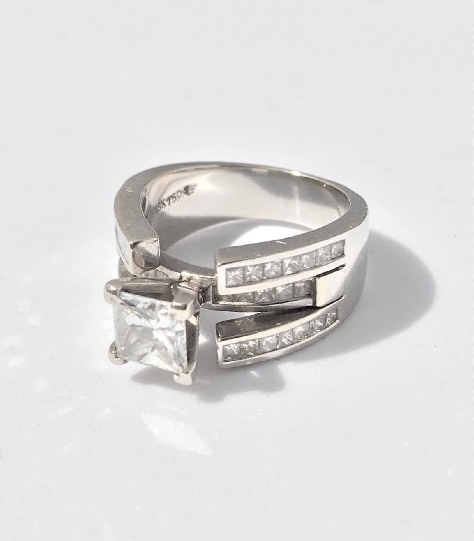 Lady's 18kt White Gold With Diamonds Engagement Ring - 4
