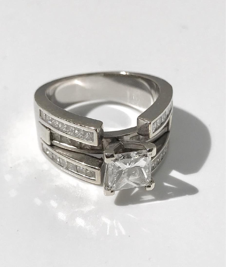 Lady's 18kt White Gold With Diamonds Engagement Ring - 7