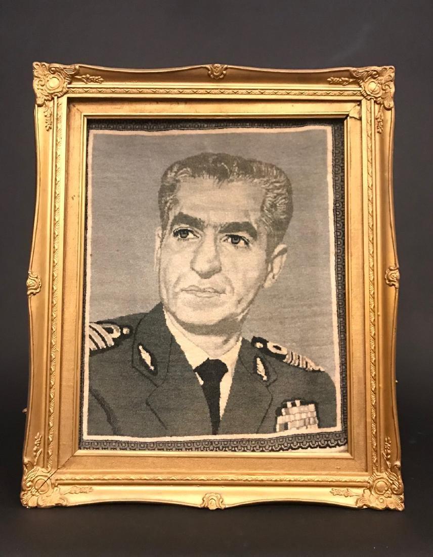 Former Shah of Iran (M. Pahlavi) Portrait Persian Rug