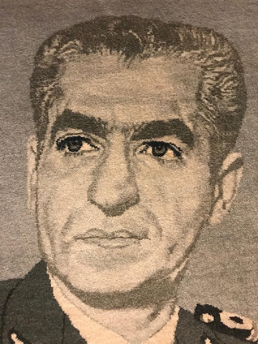 Former Shah of Iran (M. Pahlavi) Portrait Persian Rug - 2