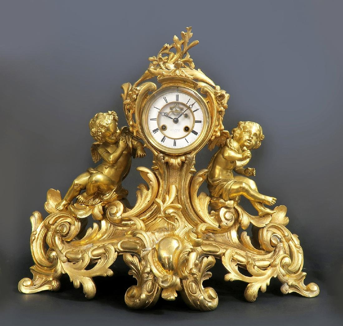 Very large 19th C. Figural Bronze Clock Set - 2