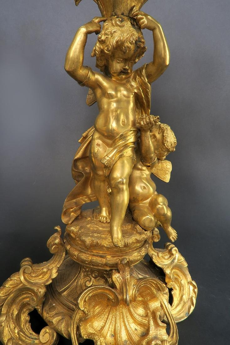 Very large 19th C. Figural Bronze Clock Set - 6