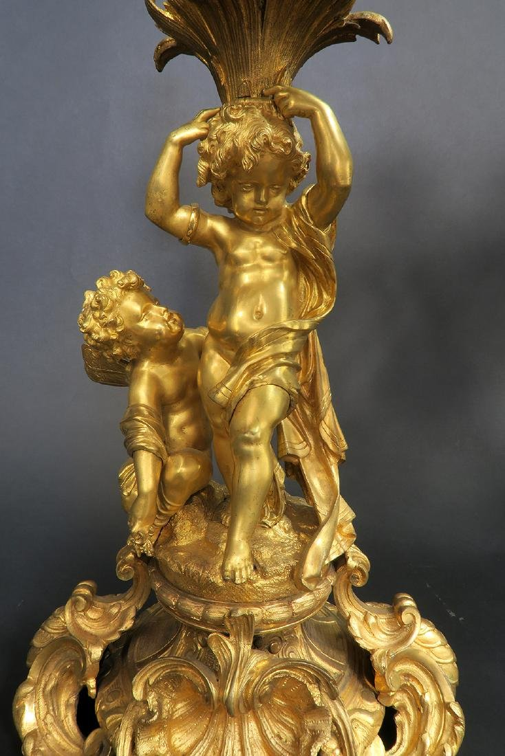 Very large 19th C. Figural Bronze Clock Set - 7