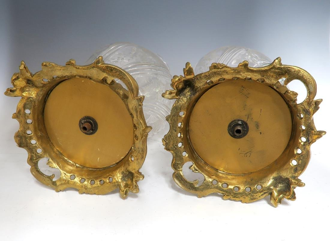 Large Pair of French Bronze & Baccarat Crystal Vases - 2