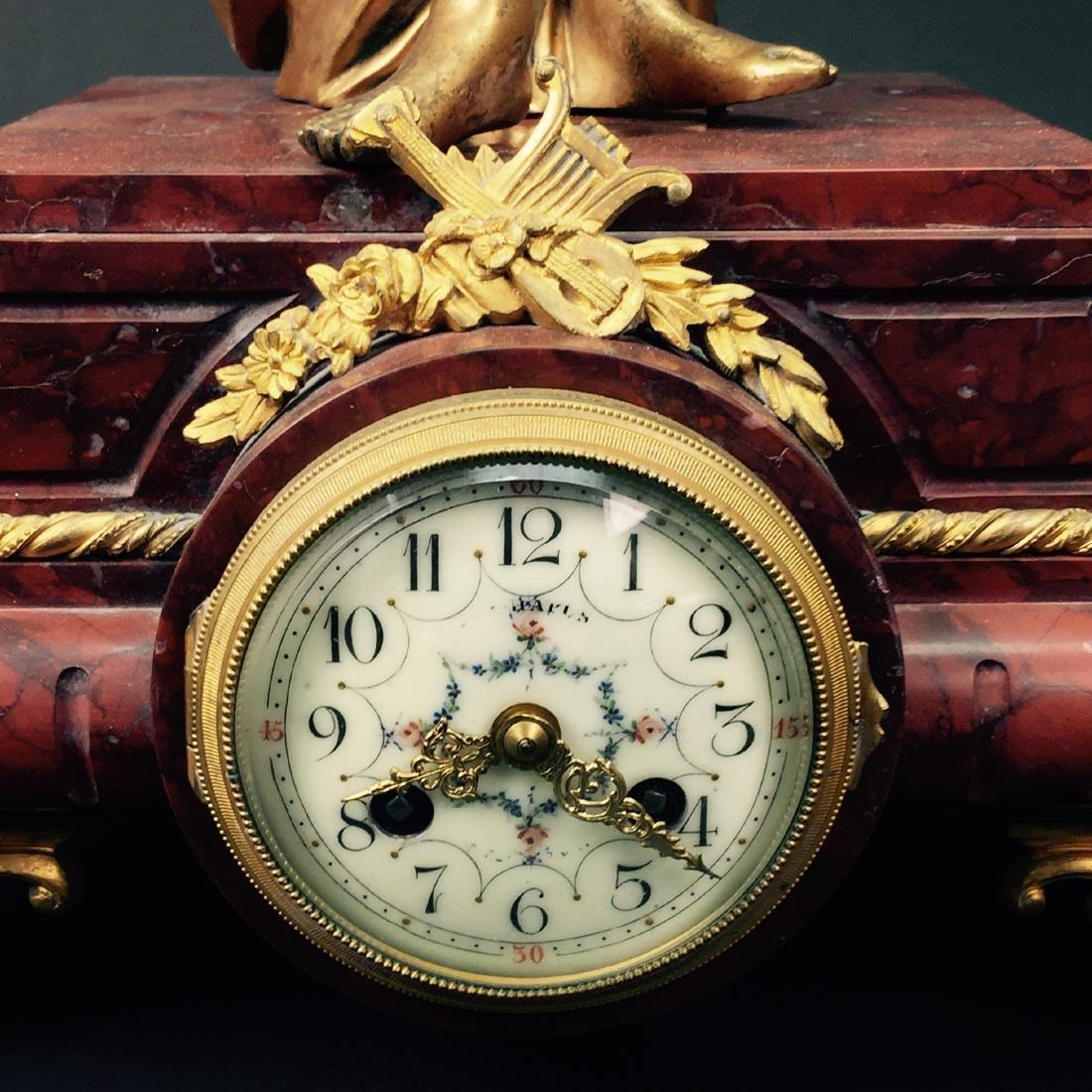19TH CENTURY GILT BRONZE SCULPTURE ON MARBLE CLOCK - 2