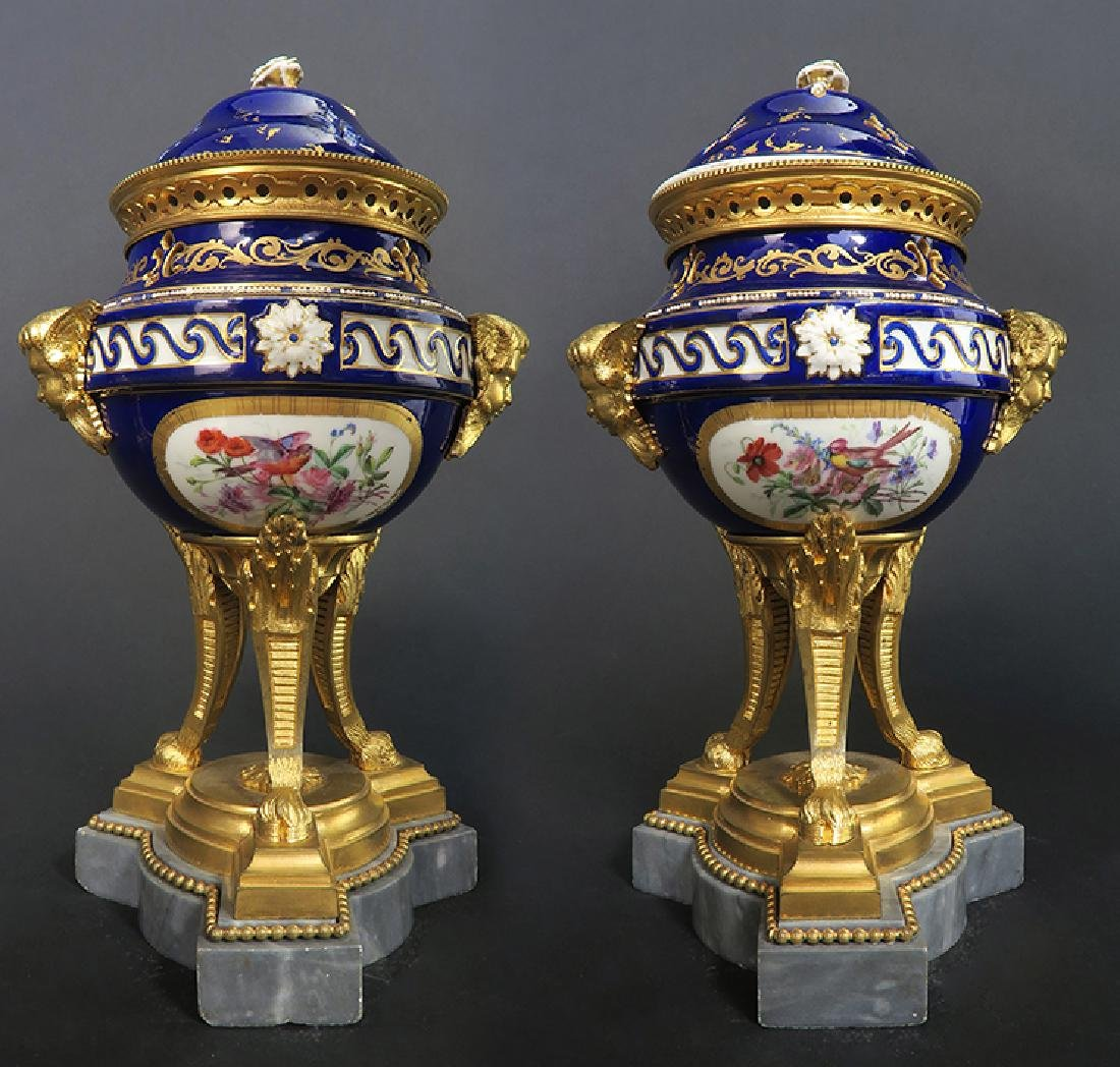 A Pair of French Bronze & Sevres Porcelain Urns - 2