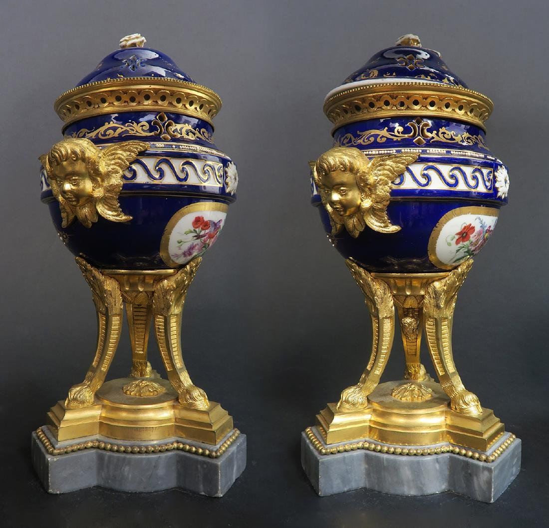 A Pair of French Bronze & Sevres Porcelain Urns - 3