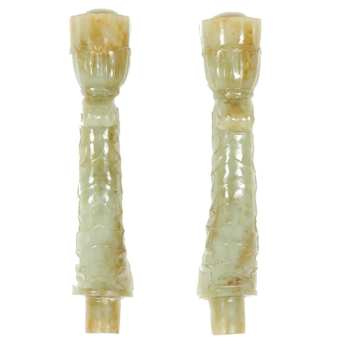 "18th C. Pair of ""Mughal Indian"" Jade Candlesticks"
