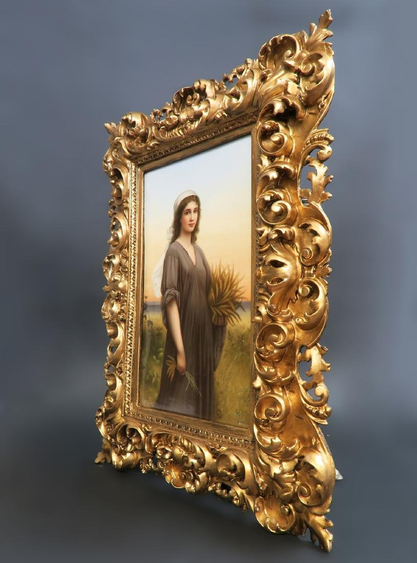 "Monumental Framed KPM Plaque of ""Ruth in the cornfield"" - 3"