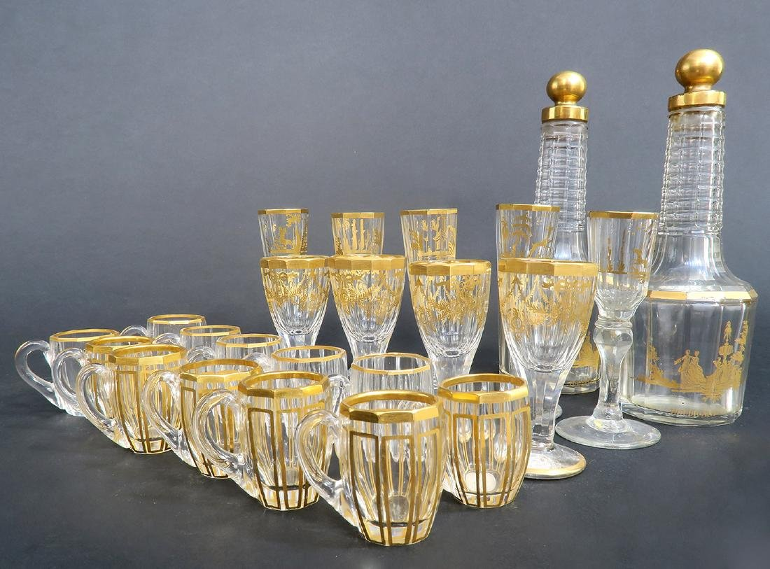 French Chinoiserie Bronze & Baccarat Crystal Tantalus - 8