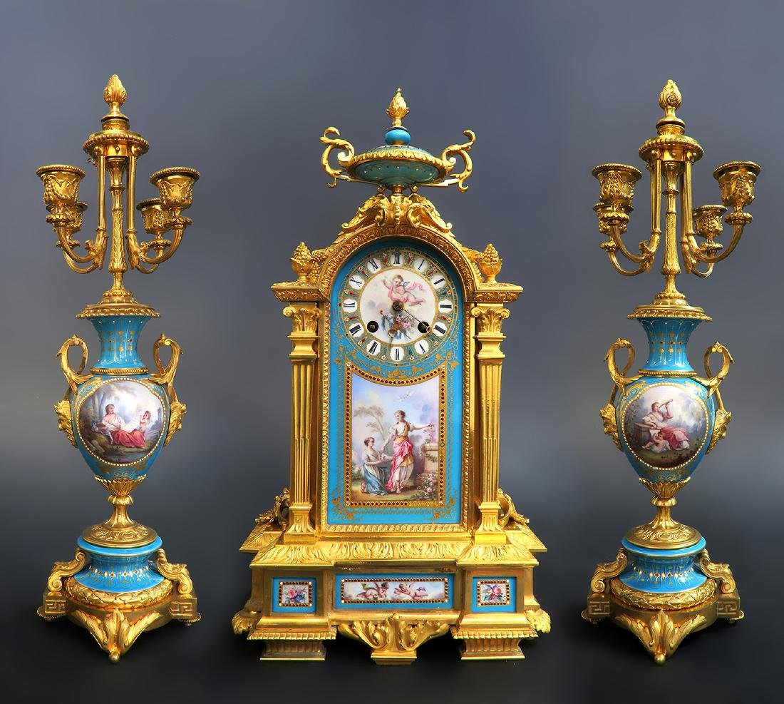 19th C. Sevres Jeweled Turquoise Clock Set