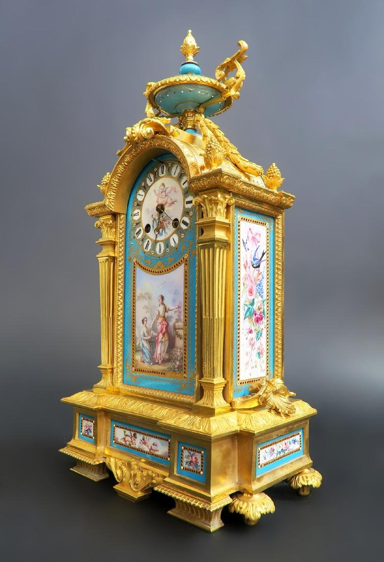 19th C. Sevres Jeweled Turquoise Clock Set - 2
