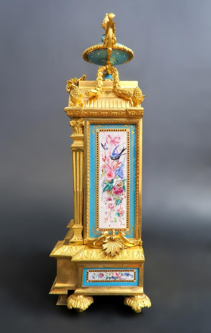 19th C. Sevres Jeweled Turquoise Clock Set - 3