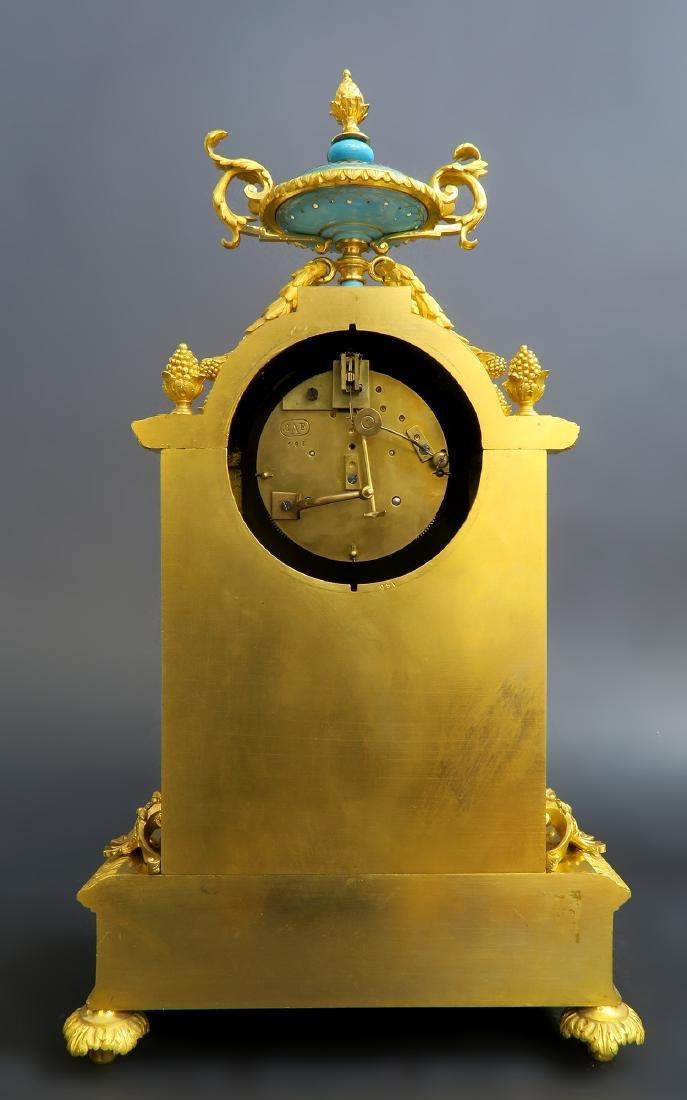 19th C. Sevres Jeweled Turquoise Clock Set - 4