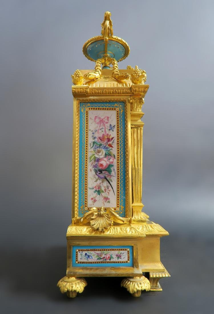 19th C. Sevres Jeweled Turquoise Clock Set - 5