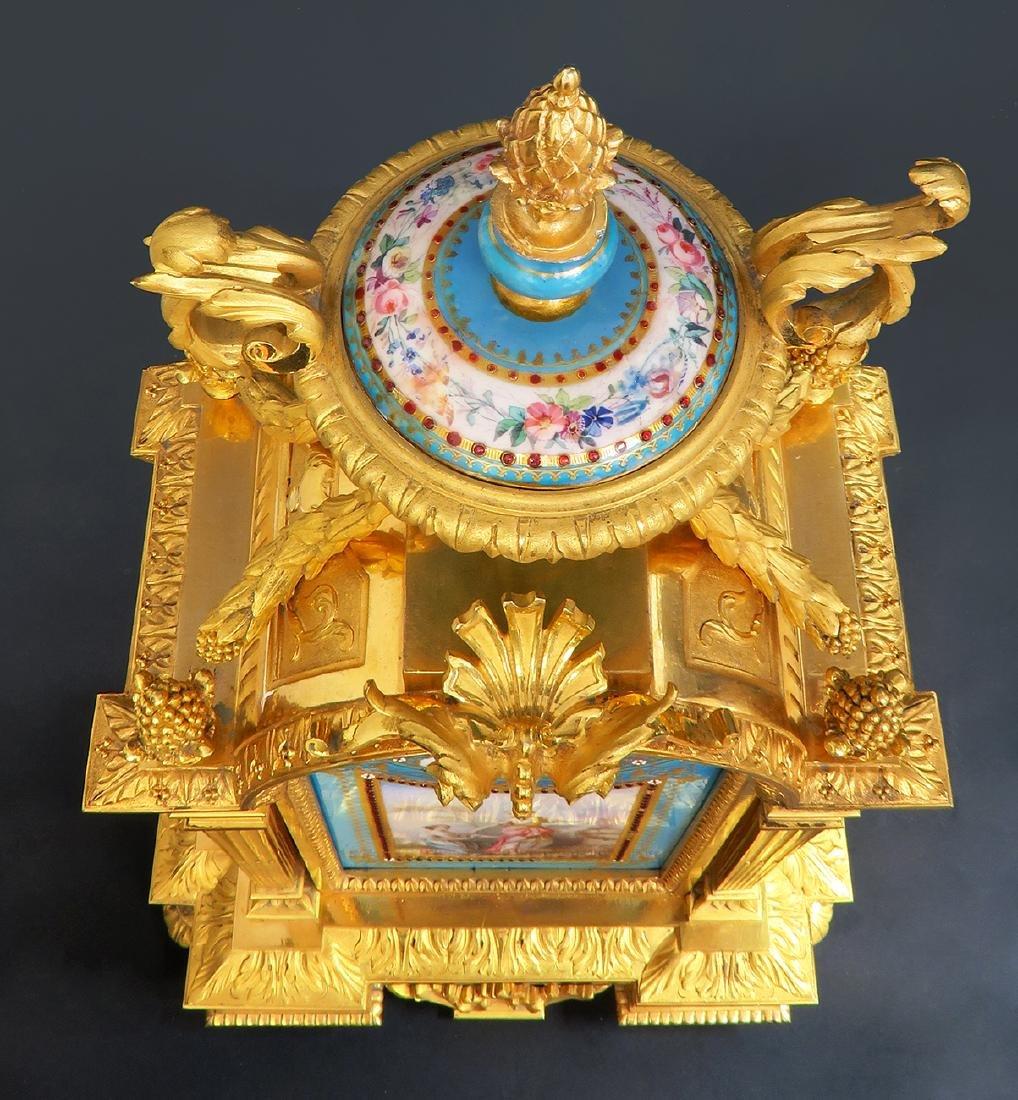 19th C. Sevres Jeweled Turquoise Clock Set - 6