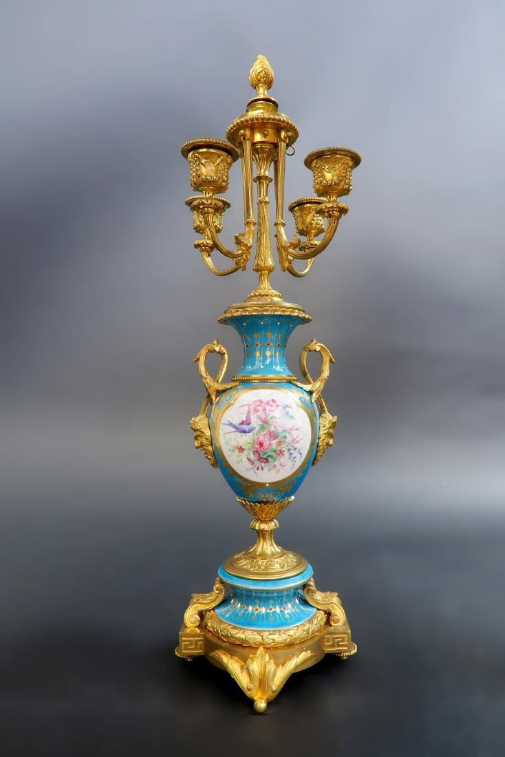 19th C. Sevres Jeweled Turquoise Clock Set - 9