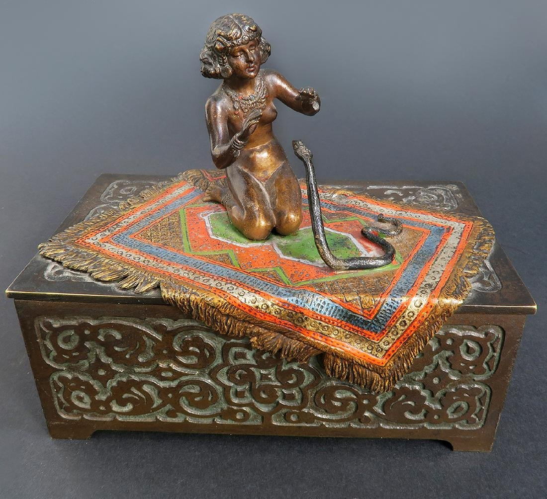 Austrian Cold-painted Bronze Figural Box - 2