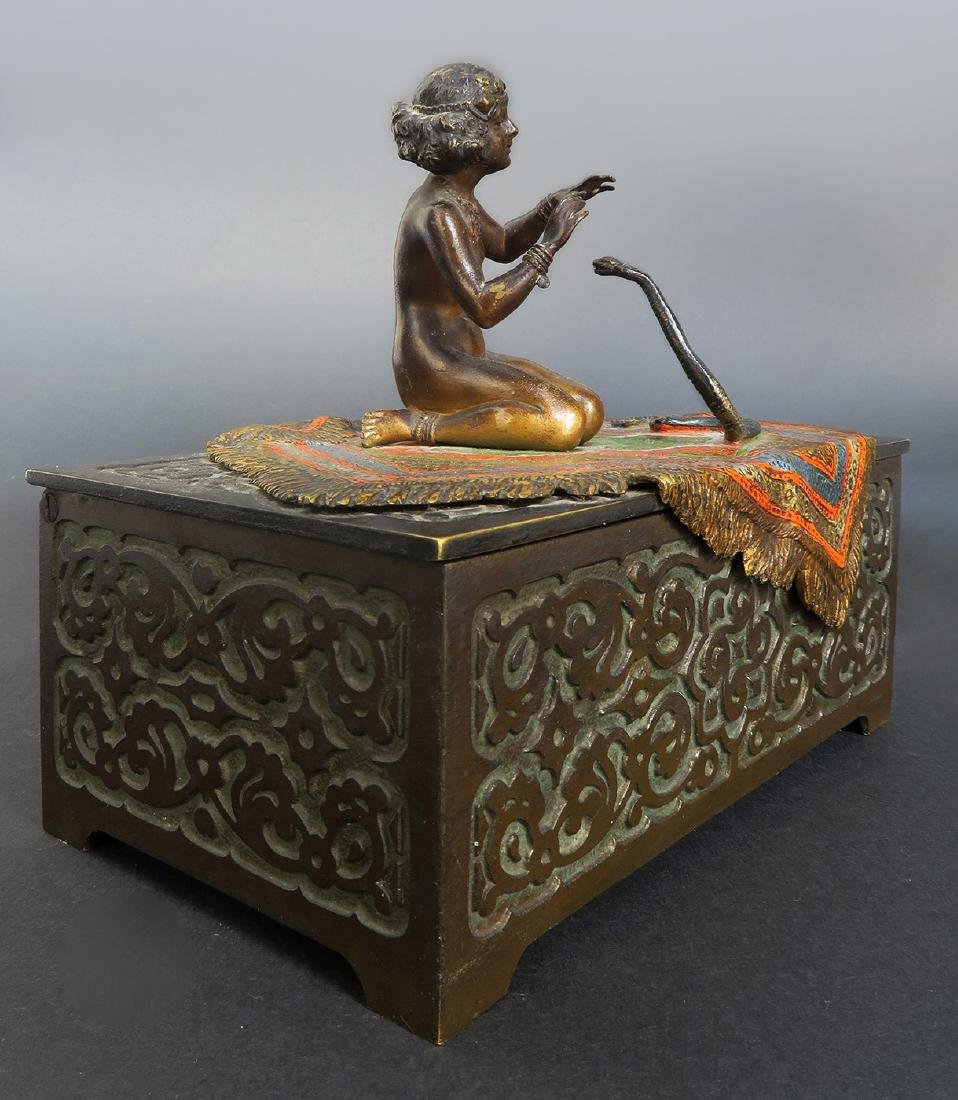 Austrian Cold-painted Bronze Figural Box - 3