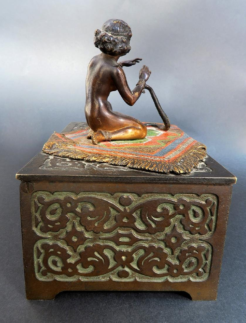 Austrian Cold-painted Bronze Figural Box - 4
