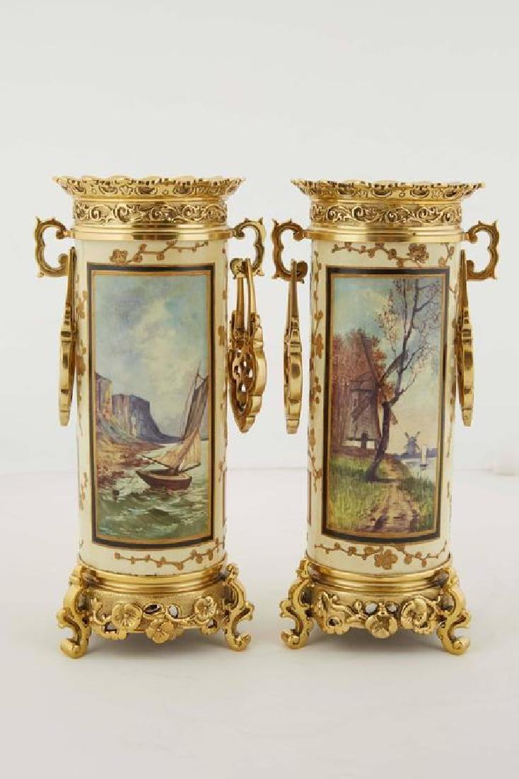 French Japonisme Gilt-Metal Mounted Clock Garniture Set - 6
