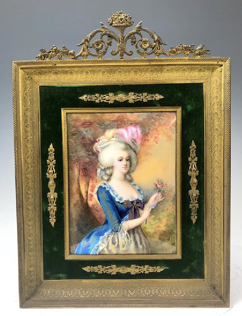 19th C. French Bronze Framed Enamel on Copper