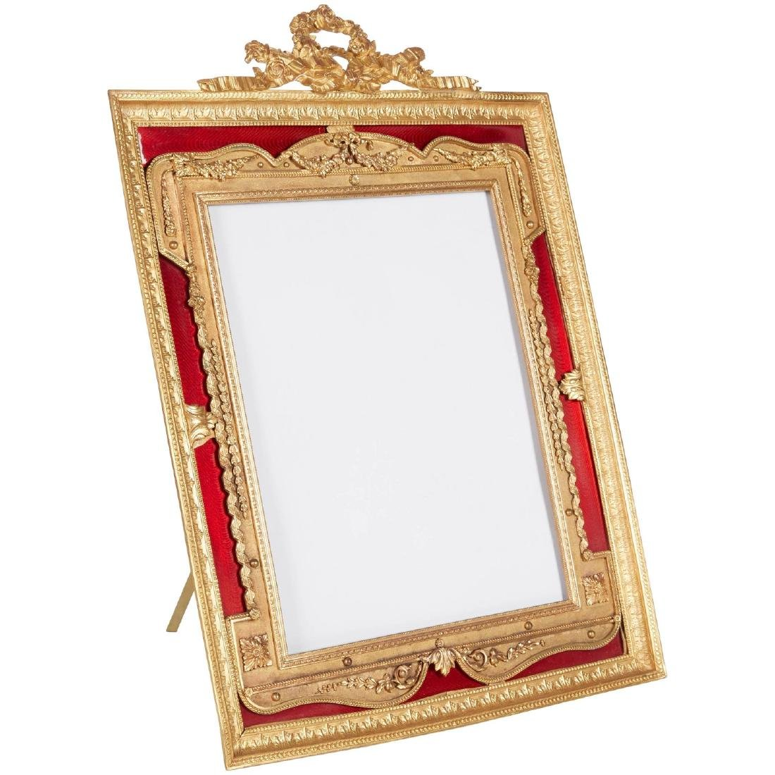 Large Gilt Bronze Ormolu/Red Guilloche Enamel Frame