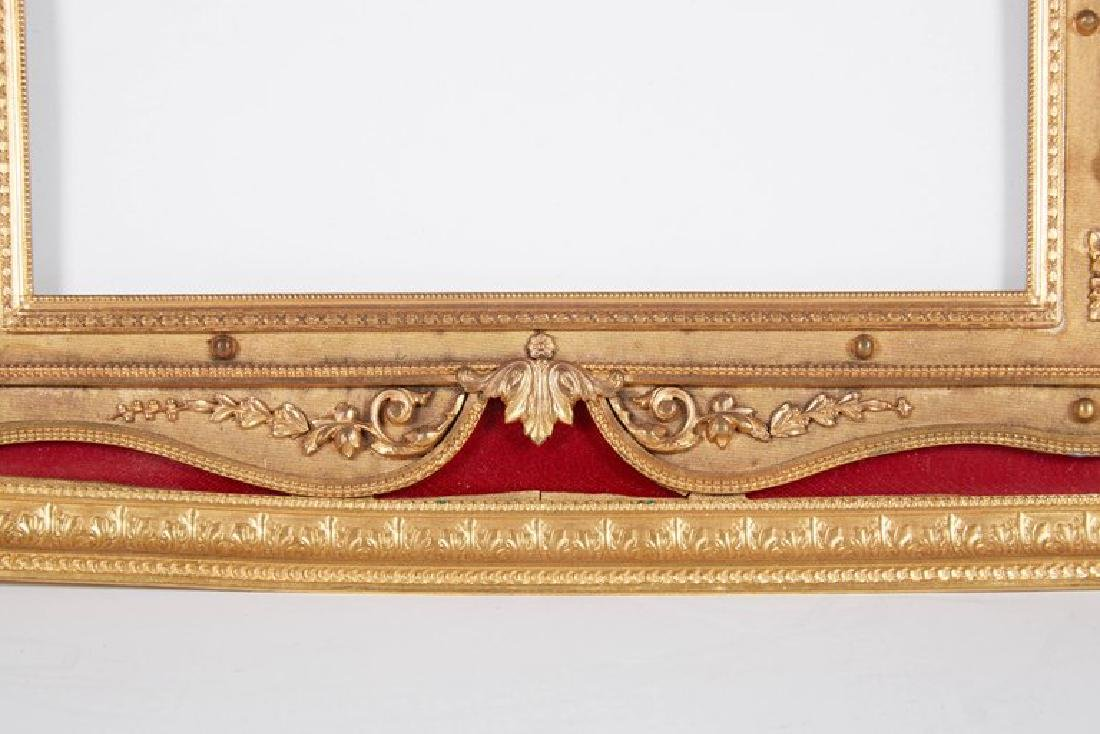 Large Gilt Bronze Ormolu/Red Guilloche Enamel Frame - 4
