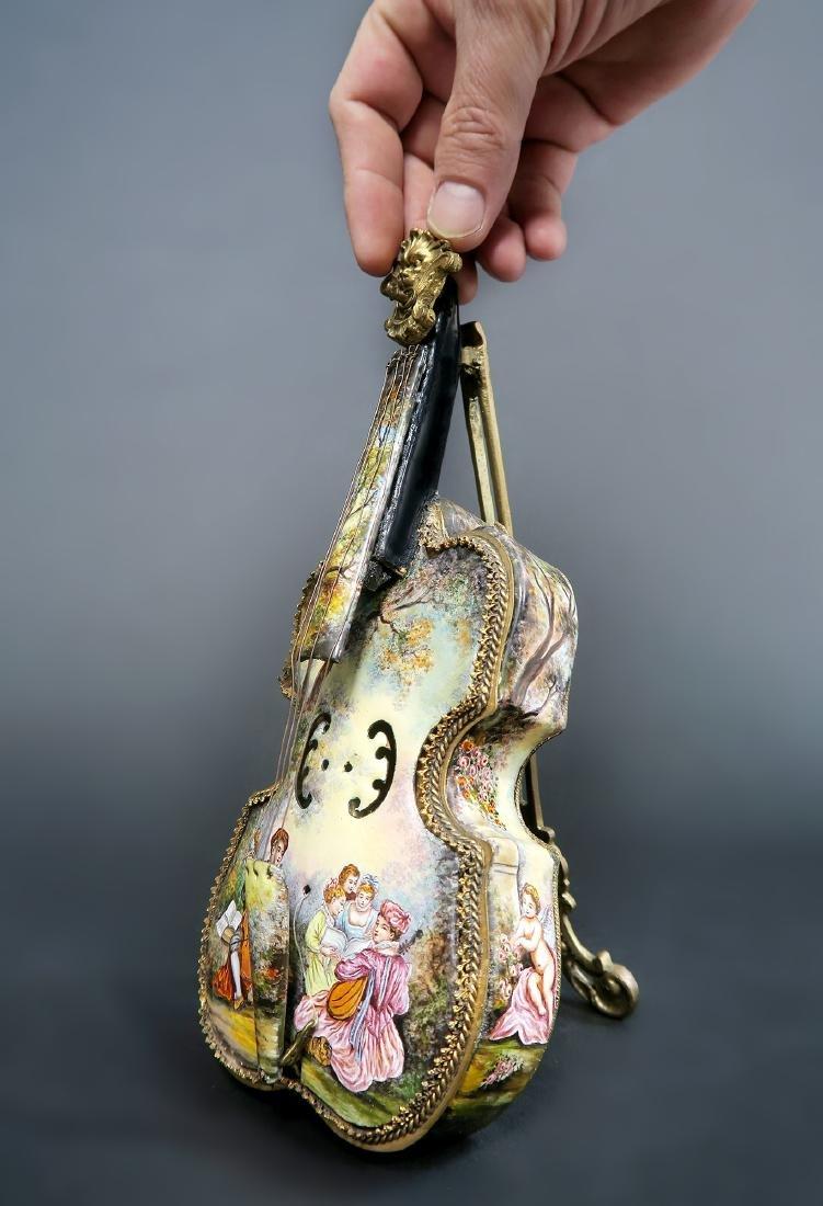 Large Austrian/Viennese Enamel & Bronze Violin Figurine