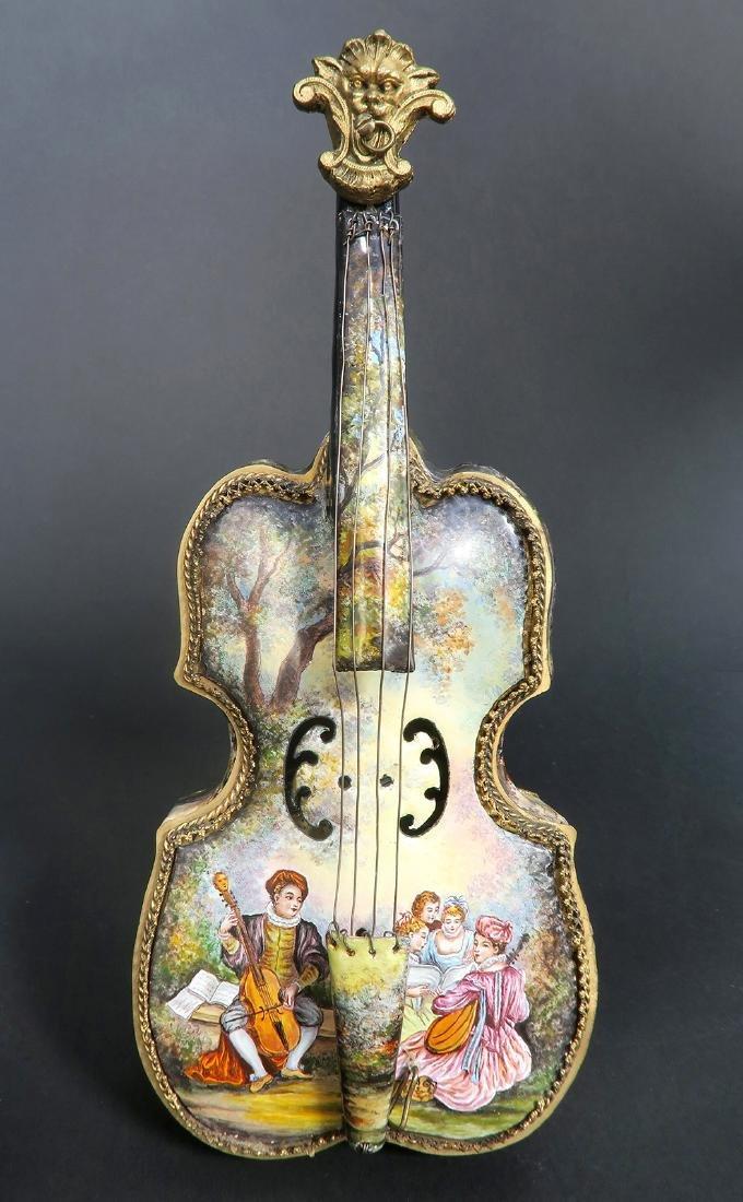 Large Austrian/Viennese Enamel & Bronze Violin Figurine - 3