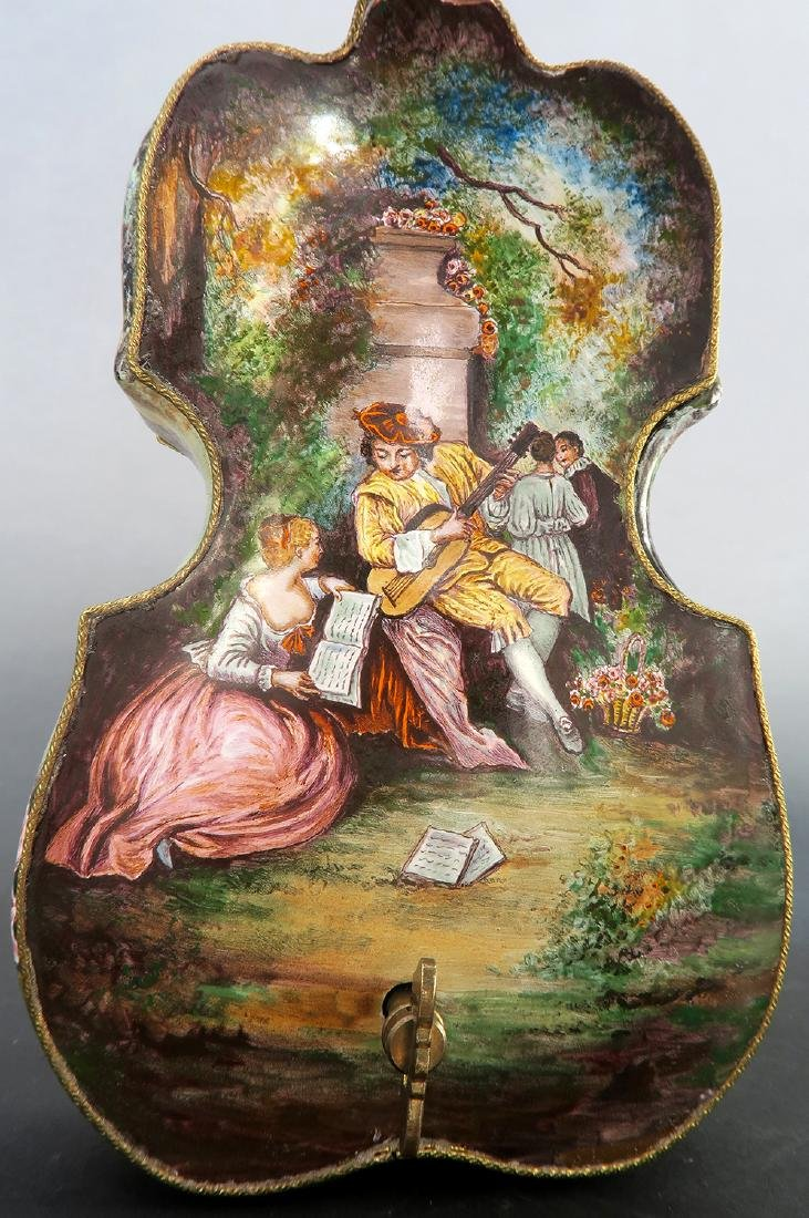 Large Austrian/Viennese Enamel & Bronze Violin Figurine - 6