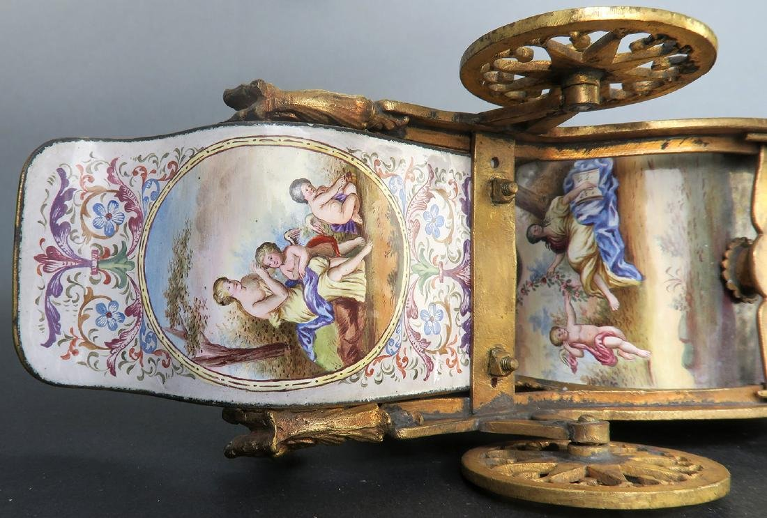 Very Large Viennese Enamel & Bronze Carriage - 10