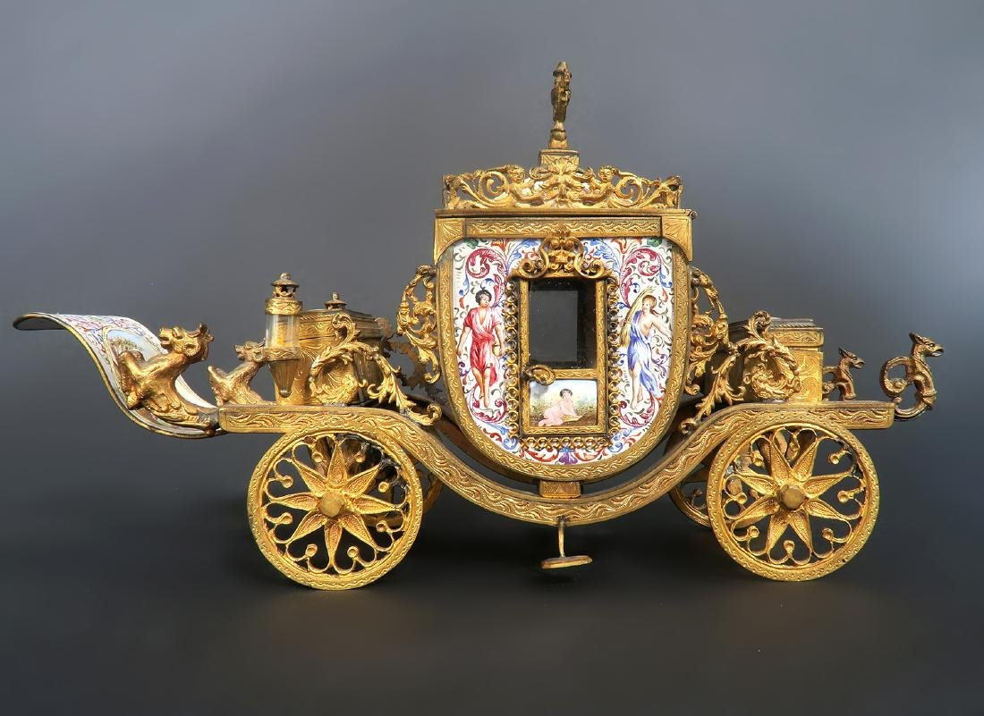 Very Large Viennese Enamel & Bronze Carriage - 3