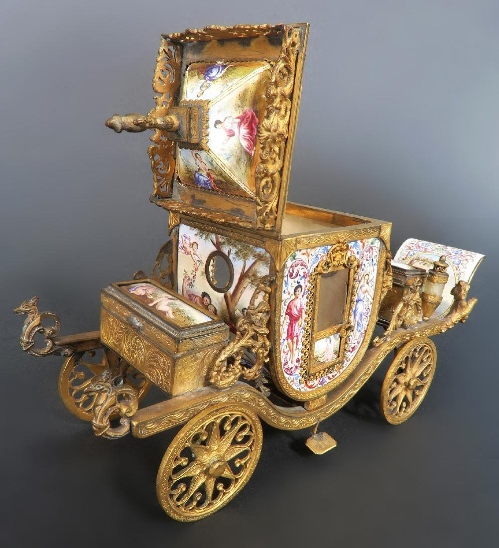 Very Large Viennese Enamel & Bronze Carriage - 5