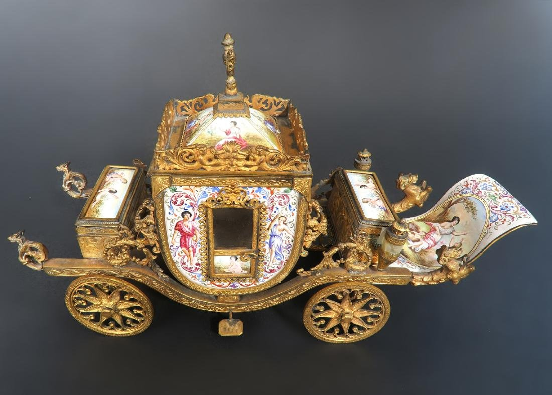 Very Large Viennese Enamel & Bronze Carriage - 7