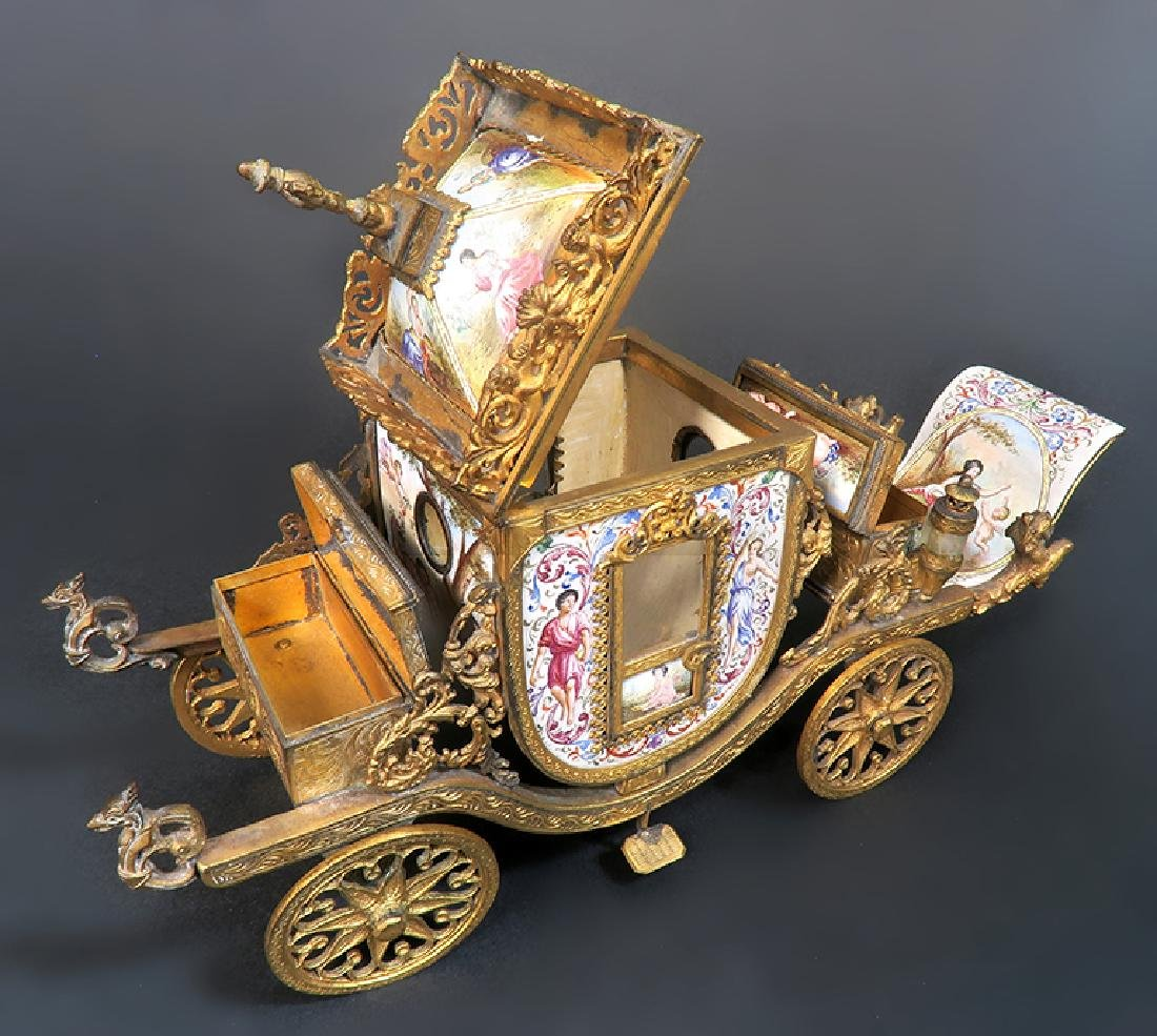 Very Large Viennese Enamel & Bronze Carriage - 8