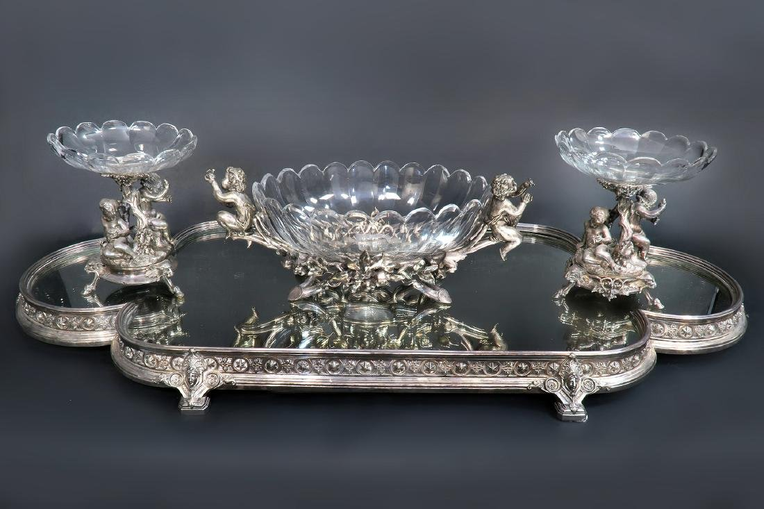 French Christofle Three-Piece Table Garniture / Plateau