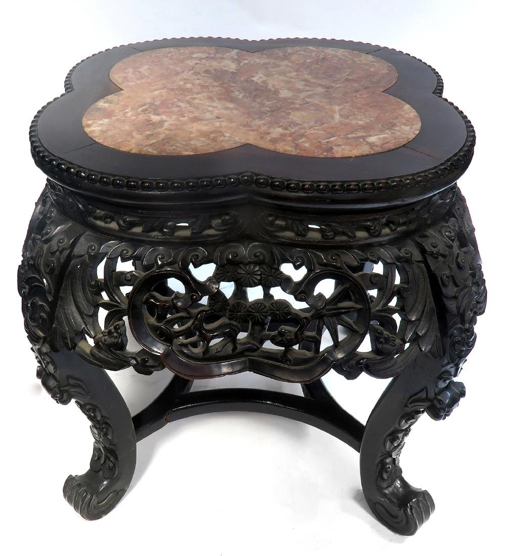 19th C. Chinese Wood & Marble Stand/Coffee Table
