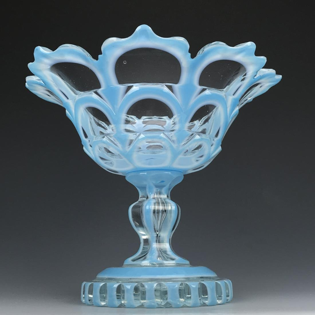 19th C. Bohemian Diamond Cut Compote