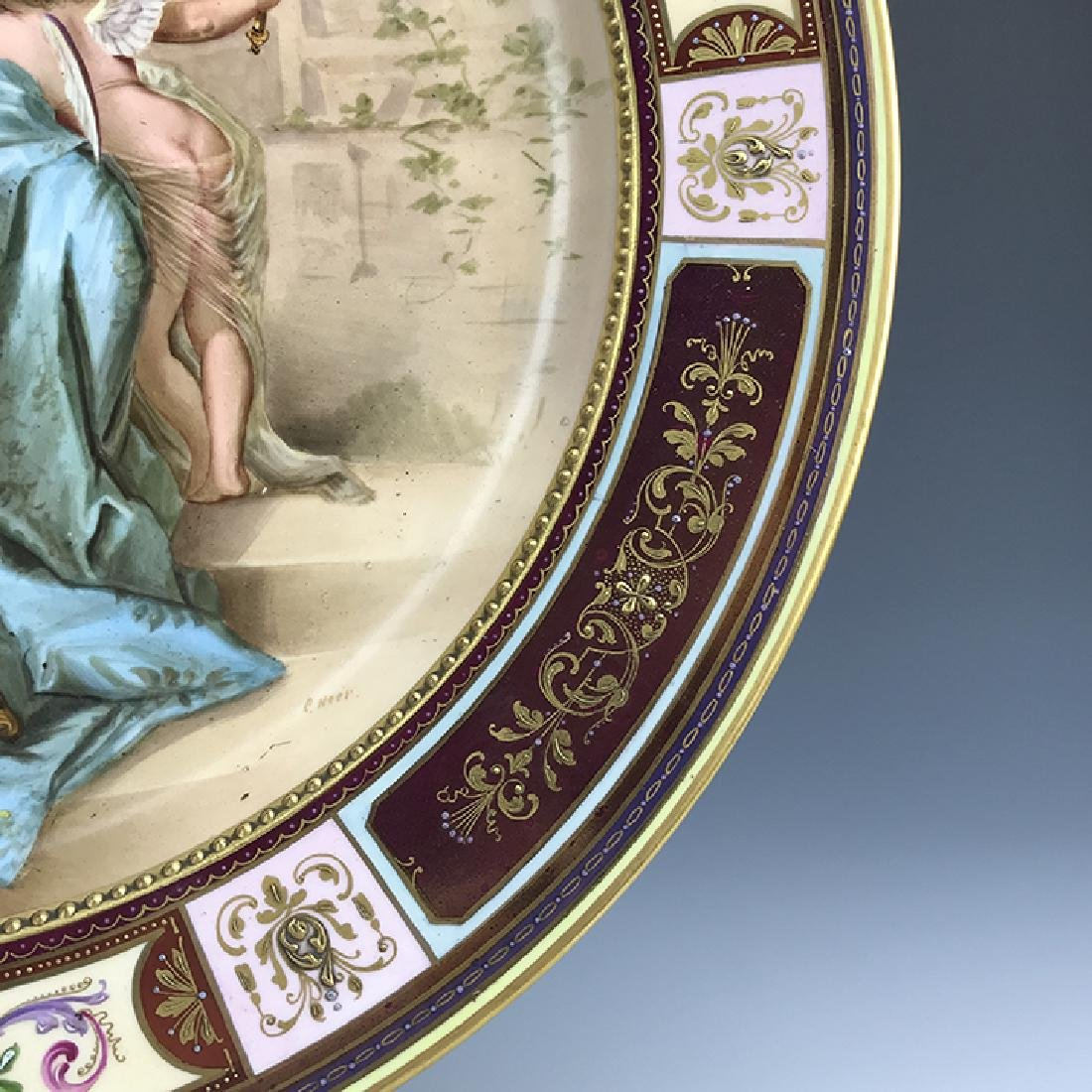 19th C. Royal Vienna Hand Painted Plate - 3
