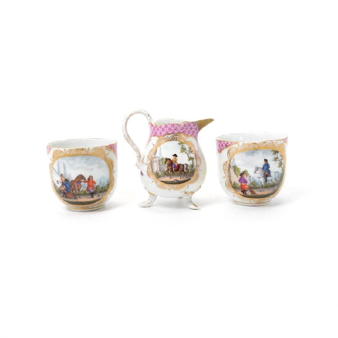 """Meissen"" Porcelain Tea Service/Tray (6 Pcs) - 4"