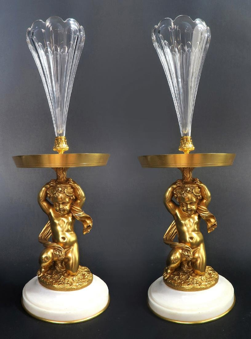A Pair of Figural Bronze Baccarat Crystal Vases, 19th C