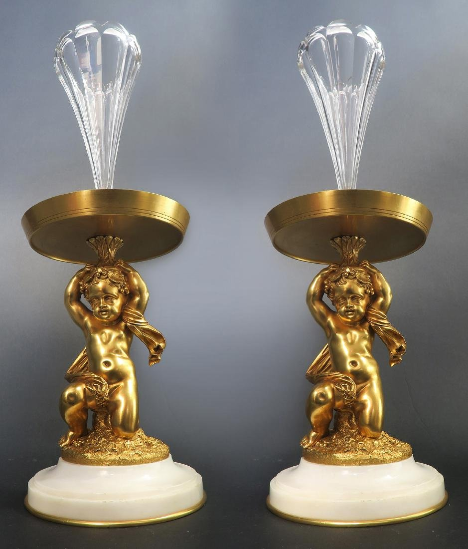 A Pair of Figural Bronze Baccarat Crystal Vases, 19th C - 2