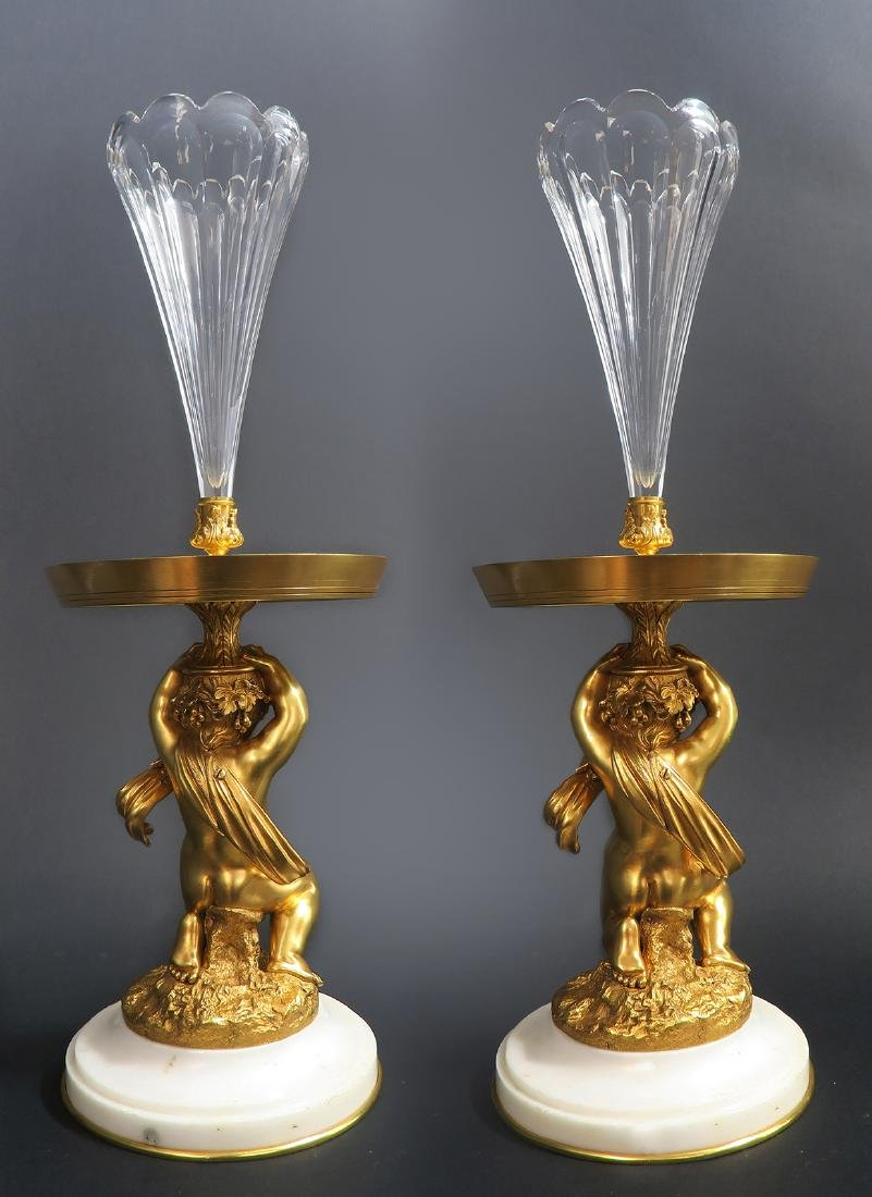 A Pair of Figural Bronze Baccarat Crystal Vases, 19th C - 3