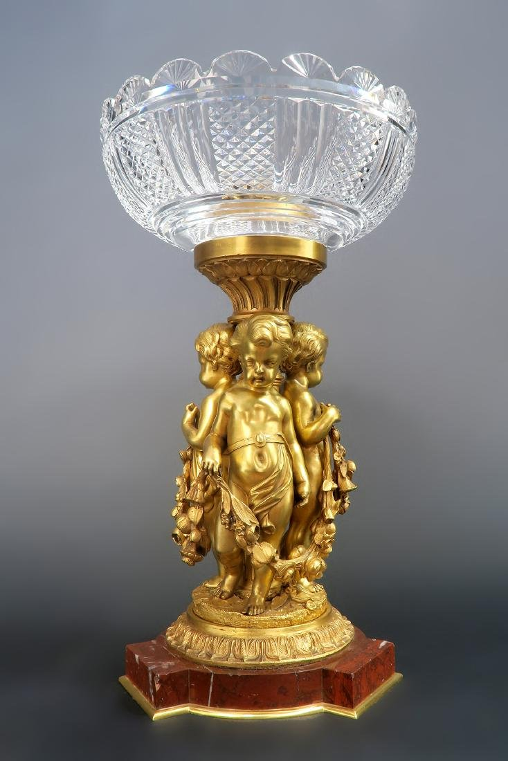 Large Figural Bronze Baccarat Centerpiece. 19th C. - 2