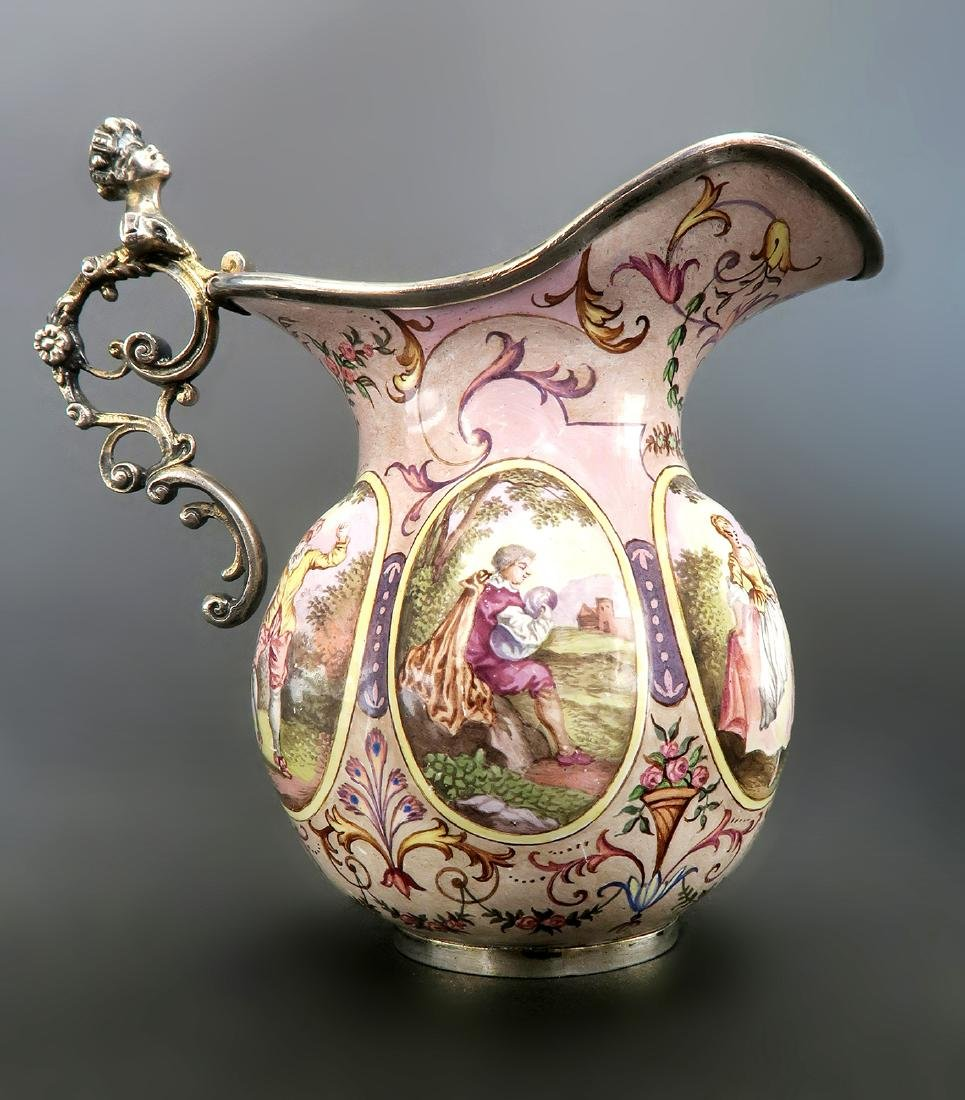 19th C. Austrian/Viennese Enamel On Silver Creamer