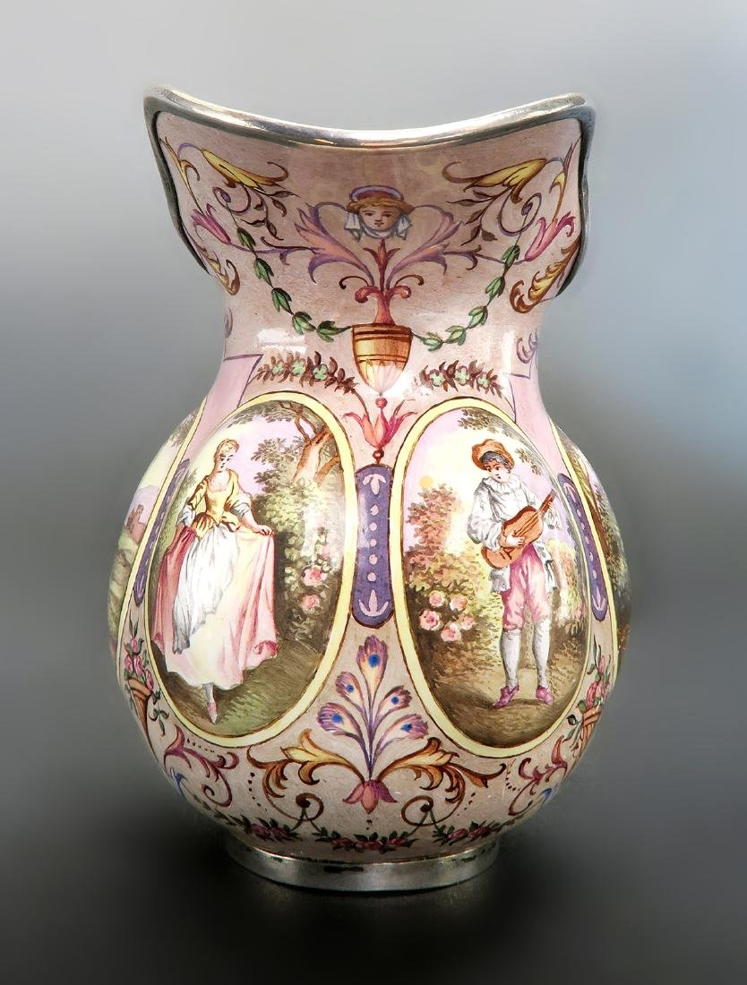 19th C. Austrian/Viennese Enamel On Silver Creamer - 3