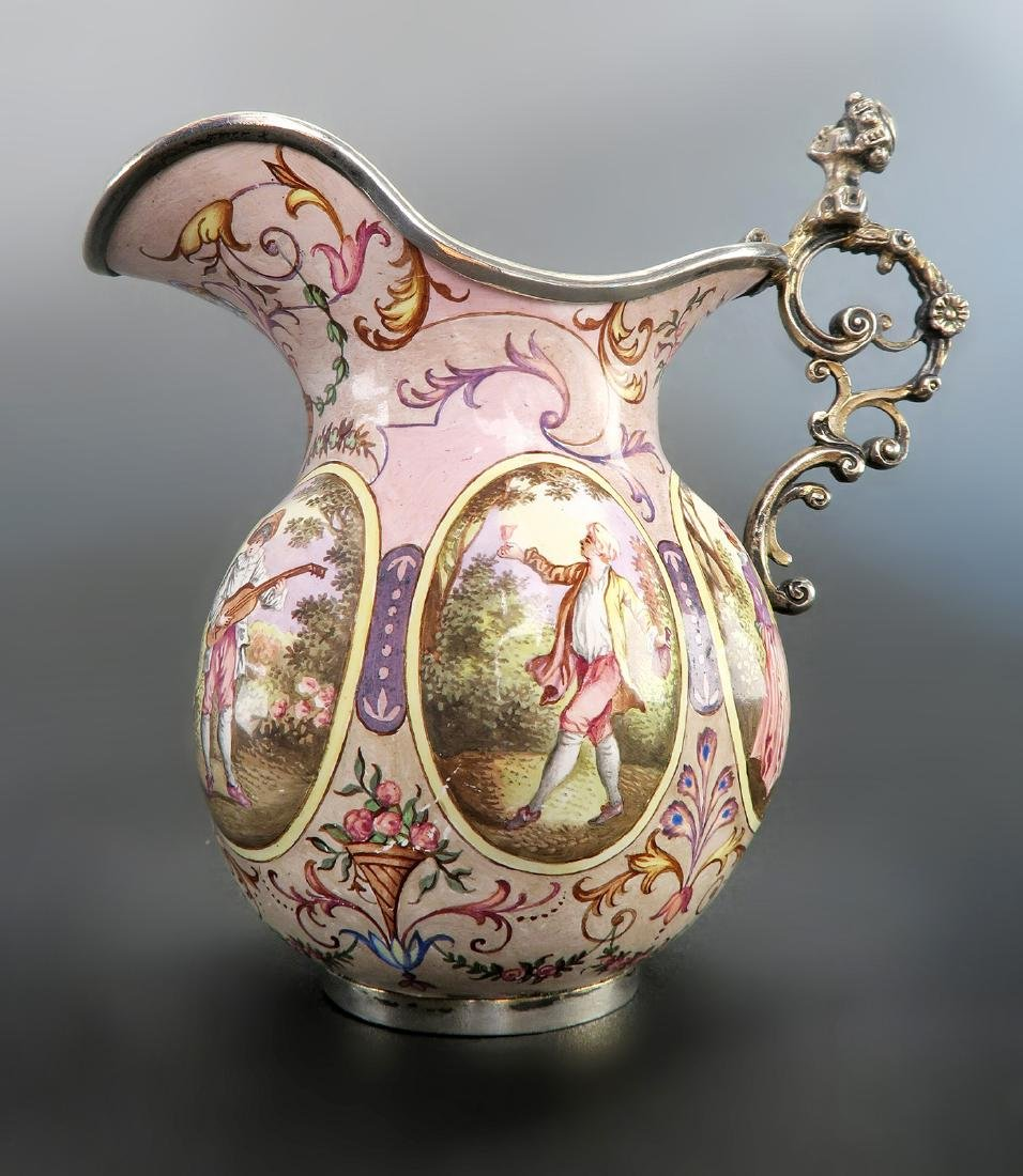 19th C. Austrian/Viennese Enamel On Silver Creamer - 5