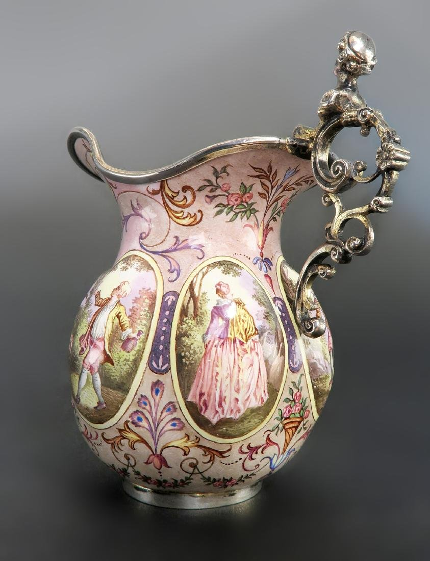 19th C. Austrian/Viennese Enamel On Silver Creamer - 6