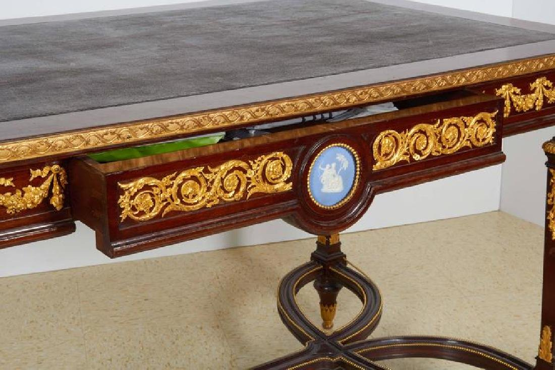 Fine Ormolu Jasperware Wedgewood-Mounted Mahogany Table - 6